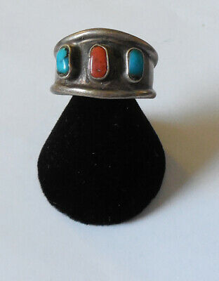 OLD PAWN Native American Indian Turquoise Branch Coral Man's Ring Size 10 3/4
