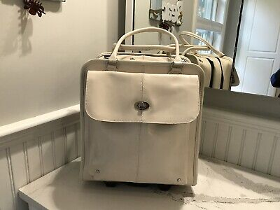 Wilson leather Off-white rolling briefcase laptop carry-on