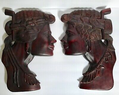 FINE PAIR OF HAND CARVED WOODEN NATIVE AMERICAN PLAQUES, C1930s, Excellent Condi