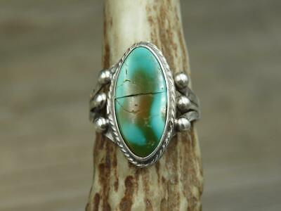 Vintage Old Pawn Navajo Sterling Silver Stone Mountain Turquoise Ring Sz 4.25