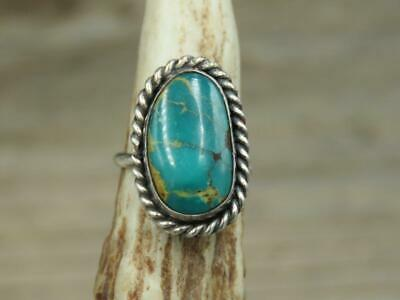 Vintage Old Pawn Navajo Sterling Silver Stone Mountain Turquoise Ring Sz 2.5