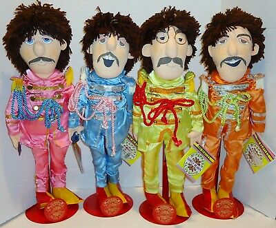 1988 BEATLES Sgt. PEPPER DOLLS by APPLAUSE - Complete Set of 4, Stands, Stage