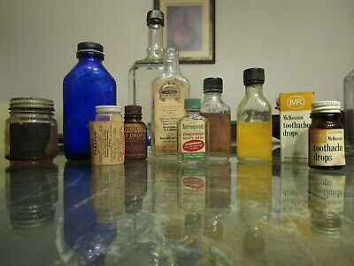 Old Medicine Bottle Loxol Pain Phillips Bells ear Toothache drop Parafon Lot