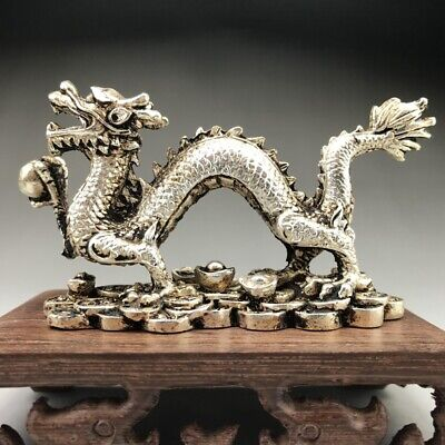 Collectable Tibet Silver Hand Carved Chinese Dragon Statue...。
