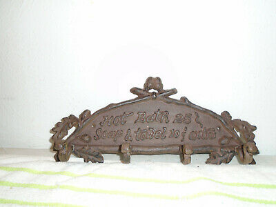 Vintage cast iron Hot Bath Soap Towel coat rack 25 cent 10 cent antique