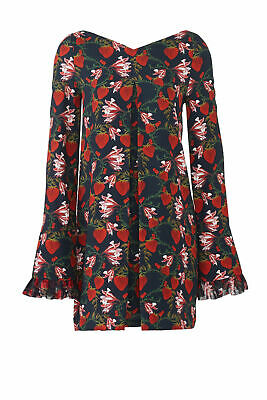 Mother of Pearl Blue Women's Size 6 Floral Berry Print Shift Dress $595 #267