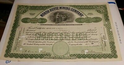 1924 North Butte Mining Company Stock Certificate