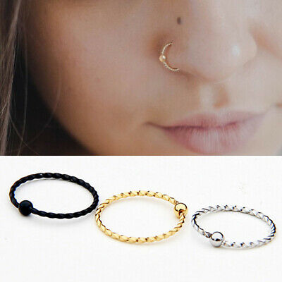 Nose Ring Nose Lip Hoop Cartilage Tragus Helix Ear Piercing Steel Rings Decor