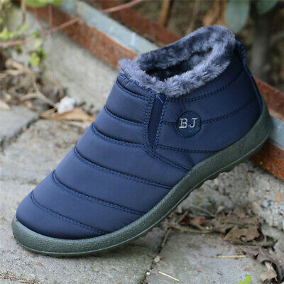Winter Men Women Lover Waterproof Shoes Snow Fur Lined Antiskid Warm Ankle