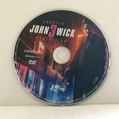 2019 John Wick 3 Parabellum with Keanu Reeves Movie DVD Disc Only