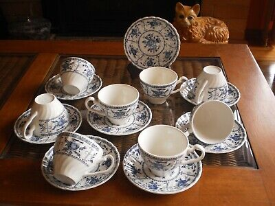 """Johnson Brothers Made In England """"Indies Blue""""  Cups & Saucers - Set Of 8"""