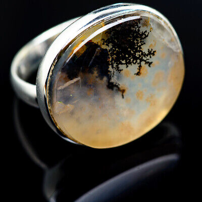 Large Scenic Dendritic Agate 925 Sterling Silver Ring Size 8 Jewelry R974664