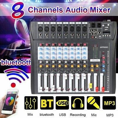 ammoon CT80S-USB 8Channel Digtal Mic Line Audio Mixer Console for Recording U1Z5