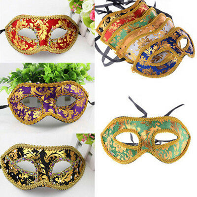 UK_ Mens Classic Foiled Costume Eye Mask Masquerade Party Cosplay Ball Mask Reli
