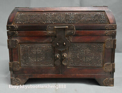 12 Old China HuangHuaLi Wood Carved Chang E goddess Statue Jewelry Container Box