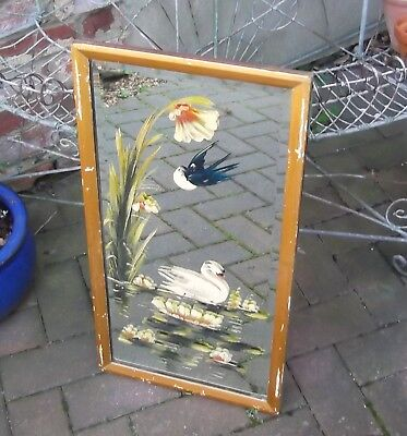 Painted Victorian Bevelled Mirror~Lakeside Scene~Vintage Condition~Wood Frame