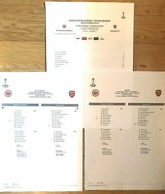 Eintracht Frankfurt v Arsenal 19/09/2019 Europa League. Set Of 3 Press Items T/S