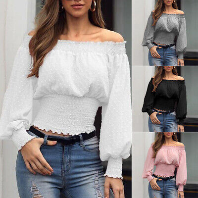 Womens Lantern Sleeve Off Shoulder Shirt Plain Loose Blouse Casual Party Tops