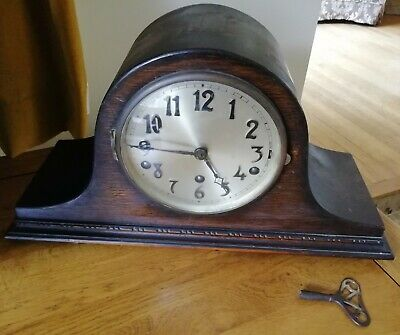 Antique Oak Napoleon's Hat Shaped Mantel Clock Westminster Chime Key circa 1930s