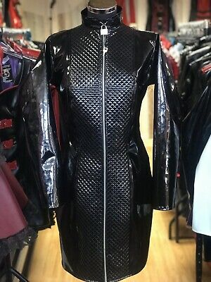 Misfitz black PVC padlock lockable zip mistress dress size 16 Goth TV CD Fetish
