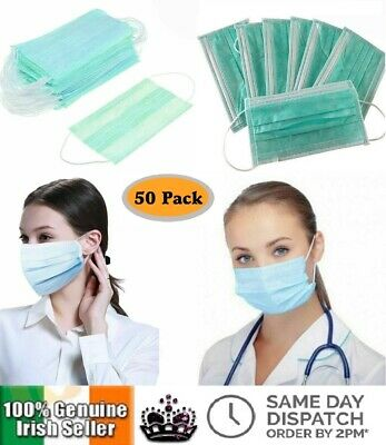 50PCS Disposable Surgical Hygienic Face Mask Mouth Flu Dust Medical Nail Salon
