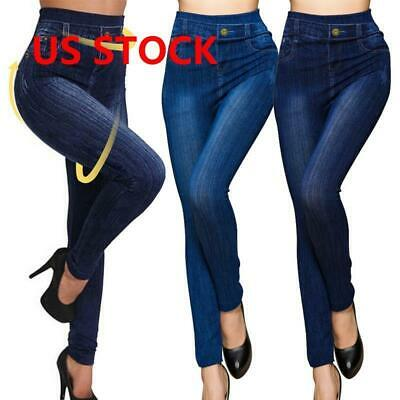 Women-Stretch Pencil Pants High Waist Skinny Jeggings Jeans Casual Slim Trousers