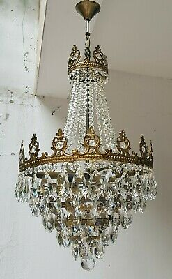 Antique Vintage Brass & Crystals French LARGE Chandelier Lighting Ceiling Lamp