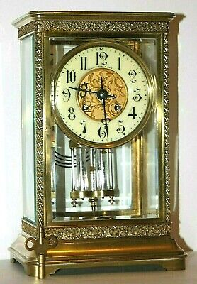 "Antique Japy Freres French Filigree ""Boston Jeweler's"" Crystal Regulator Clock."