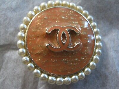 Chanel 1 Tangerine Cc Logo Front Color Pearls  22 Mm / Around 1 '' New