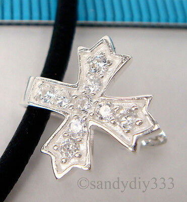 1x BRIGHT STERLING SILVER CZ CRYSTAL CROSS PENDANT PINCH BAIL CLASP #1652