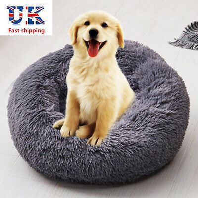 Comfy Calming Dog/Cat Bed Round Warm Soft Plush Pet Bed Marshmallow Cat Bed Gray