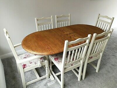 Shabby Chic Farmhouse style extending dining table and six chairs