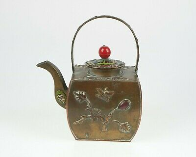 Vintage/ antique Chinese enamelled brass teapot with cabochons