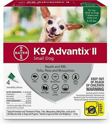 K9 Advantix II for Small Dogs 4-10 lbs - 4 Pack (New & Free Shipping)
