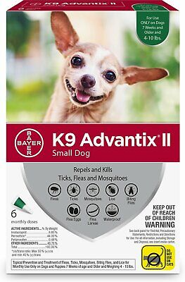 K9 Advantix II for Small Dogs 4-10 lbs - 6 Pack (New & Free Shipping)