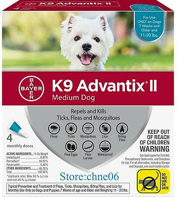 K9 Advantix II for Medium Dogs 11-20 lbs - 4 Pack **New & Free Shipping**