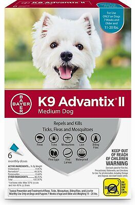 K9 Advantix II for Medium Dogs 11-20 lbs - 6 Pack **New & Free Shipping**