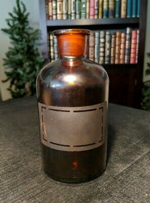 PYREX Amber Glass Bottle. Frosted label. Druggist Apothecary Vintage Pharmacy