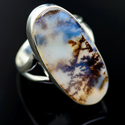 Large Scenic Dendritic Agate 925 Sterling Silver Ring Size 8 Jewelry R974970