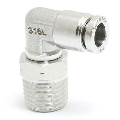 1pc 316L Steel One Touch Push 5/16 OD x 3/8 NPT Male Fitting Elbow SMTL5/16-N03
