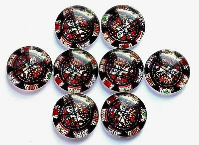 8  Glass Cabochons 16mm multi pattern - post discounts available F01