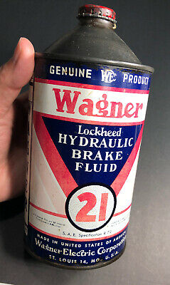 Wagner QUART Brake Fluid Tin Can Beer Cone Top Style St Louis Vintage Gas Oil