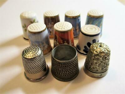 JOB LOT OF 10 VINTAGE THIMBLES - ROYAL WORCESTER OPERA's, Delft, silver plate!