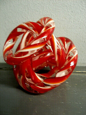 Large Vintage Zanetti Murano Art Glass Twist Rope Knot Sculpture RED CANDY CANE