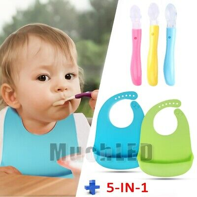 5IN1 100% Food-graded Silicone Soft Baby Bibs w/ Teething Friendly Baby Spoons