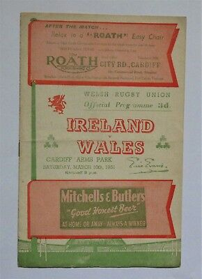 Wales Ireland Rugby Union Programme 1951