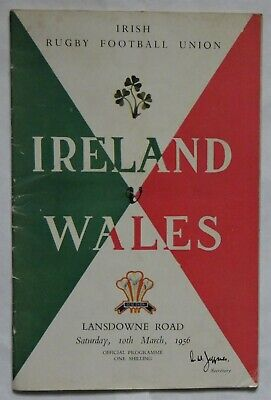 Ireland Wales Rugby Union Programme 1956