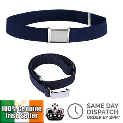 Childrens Blue Canvas Belt Solid Colour Unisex Boy Girl Kids Elastic Adjustable
