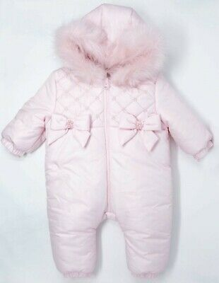 Pramsuit with pearl bow detail BNWT Mintini Girls Baby pink Snowsuit