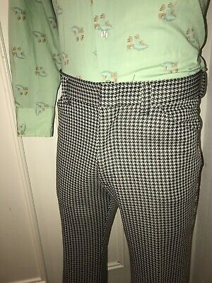 Vtg 60s 70s JCPENNEY Mens 34 31 Houndstooth POLYESTER Leisure Suit Pants Disco